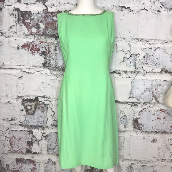 reasonable price good texture best cheap 60's green dress vintage